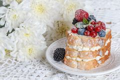 Homemade cake with ricotta and fresh berries-raspberries, red currants, blueberries and blackberries with mint and powdered sugar. Selective focus Royalty Free Stock Image