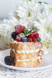 Homemade cake with ricotta and fresh berries-raspberries, red currants, blueberries and blackberries with mint and powdered sugar. Selective focus Stock Photo