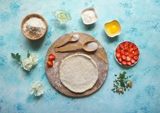 Homemade cake. Round the dough for the pie. The view from the top. Stock Images