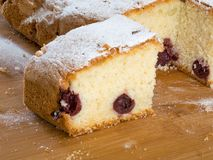 Traditional hungarian cherry cake on wooden board stock photo