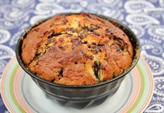 Homemade cake with chocolate. A homemade cake of wheat flour and chocolate stock photo