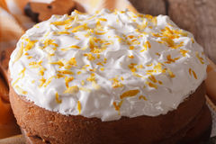 Homemade cake with white icing closeup. horizontal Royalty Free Stock Photography