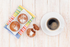 Homemade cakes and coffee cup Stock Photos