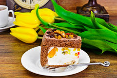 Homemade Cakes: Curd Jelly Cake on Plate Stock Photography