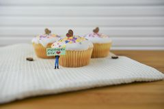 Homemade cakes with love heart decorations and mothers day words Royalty Free Stock Photos
