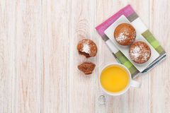 Homemade cakes and orange juice royalty free stock images