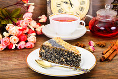Homemade Cakes: Poppy Filling Cake on Plate stock images