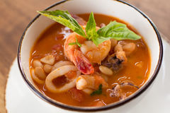 Homemade Calamari Fagioli Soup stock image