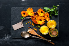Homemade calendula ointment Royalty Free Stock Photo
