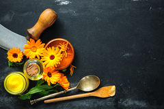Homemade calendula ointment Stock Photo