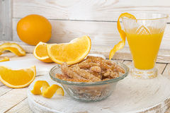 Homemade candied orange peels in glass bowl Stock Photography