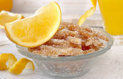 Homemade candied orange peels in glass bowl Royalty Free Stock Images