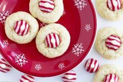 Homemade Candy Cane Kiss Cookies Stock Photos