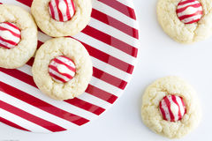 Homemade Candy Cane Kiss Cookies Stock Photography