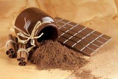 Homemade candy - chocolate, cocoa and cinnamon sticks Stock Photo