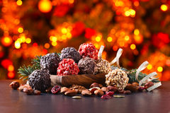 Homemade candy with chocolate , nuts and dried strawberry Royalty Free Stock Photo