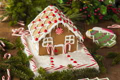 Homemade Candy Gingerbread House Royalty Free Stock Photography