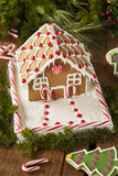 Homemade Candy Gingerbread House Stock Photography