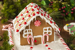 Homemade Candy Gingerbread House. With Candycanes and Frosting stock image