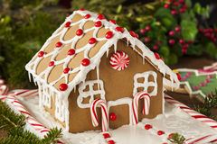 Homemade Candy Gingerbread House. With Candycanes and Frosting stock images