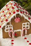 Homemade Candy Gingerbread House. With Candycanes and Frosting royalty free stock images