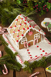 Homemade Candy Gingerbread House. With Candycanes and Frosting royalty free stock photography