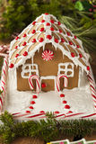 Homemade Candy Gingerbread House. With Candycanes and Frosting stock photography
