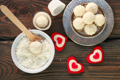 Homemade candy white chocolate with coconut. Coconut balls Royalty Free Stock Photos