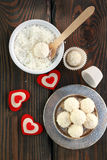 Homemade candy white chocolate with coconut. Coconut balls Royalty Free Stock Images