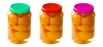 Homemade Canned Summer fruits Stock Photo