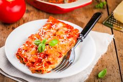Homemade cannelloni with spinach and tomato sauce Royalty Free Stock Images