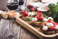 Homemade caprese bruschetta Stock Photo