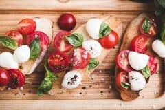 Homemade caprese bruschetta Stock Images