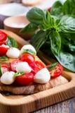 Homemade caprese bruschetta Stock Image