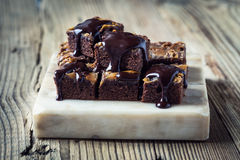 Homemade caramel chocolate brownies Royalty Free Stock Photos