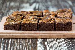 Homemade caramel chocolate brownies Stock Images