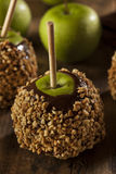 Homemade Caramel Taffy Apple with Peanuts Royalty Free Stock Photography