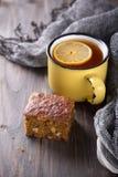 Homemade carrot and banana cake, a cup of tea with lemon Stock Photography