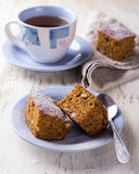 Homemade carrot and banana cake with nuts and spices Stock Photography