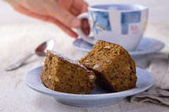 Homemade carrot and banana cake with nuts and spices Stock Photo