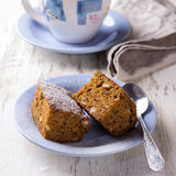 Homemade carrot and banana cake with nuts and spices Royalty Free Stock Image