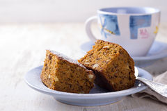 Homemade carrot and banana cake with nuts and spices Stock Photos