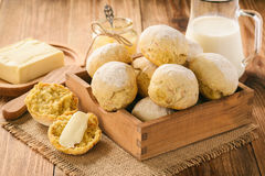 Homemade carrot bread rolls with oat flakes. Stock Image