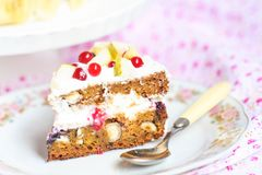 Homemade Carrot cake with cream royalty free stock image
