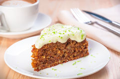 Homemade carrot cake dessert on the plate Royalty Free Stock Photo