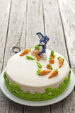 Homemade carrot cake with rabbit decoration Royalty Free Stock Photo