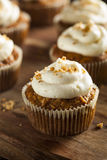 Homemade Carrot Cupcakes with Cream Cheese Frosting Stock Photography