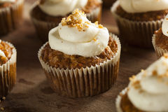 Homemade Carrot Cupcakes with Cream Cheese Frosting Stock Photos