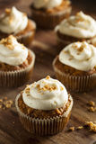 Homemade Carrot Cupcakes with Cream Cheese Frosting. For Easter Stock Photos