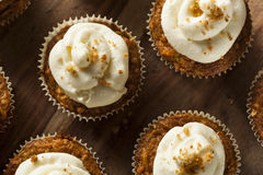 Homemade Carrot Cupcakes with Cream Cheese Frosting Stock Image